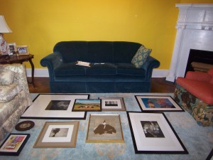 Laying out pictures for an art wall