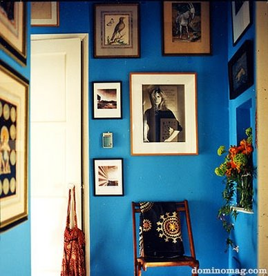 Art on blue wall