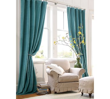Pottery Barn blue velvet drapes