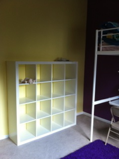 Ikea Expedit in yellow room