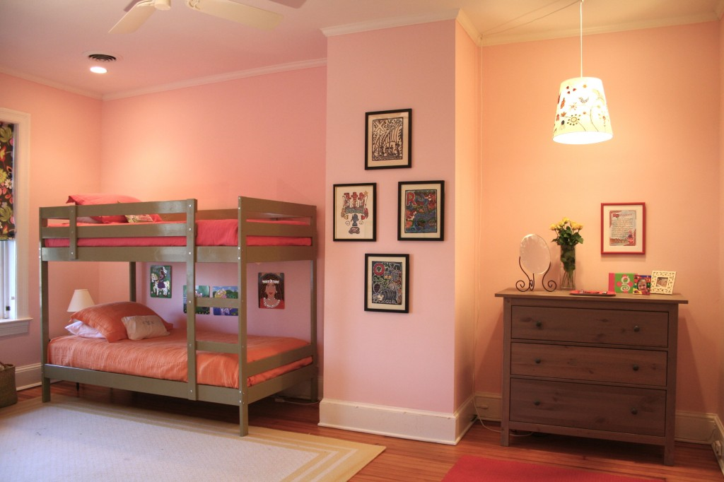 Pink bedroom with bunk bed
