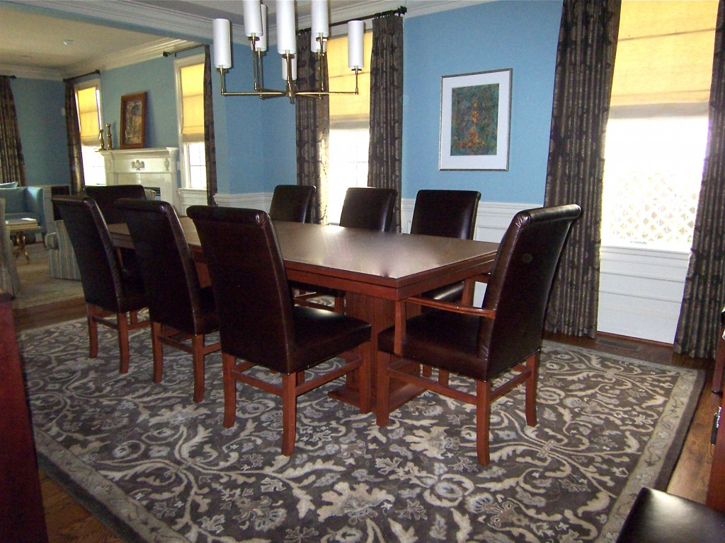 Blue and brown dining room Benjamin Moore Buxton Blue