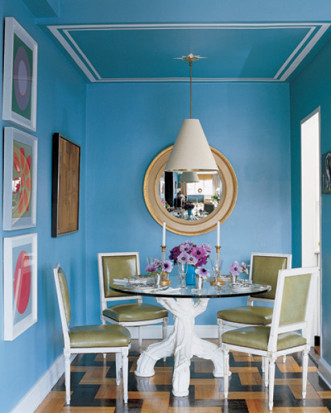 Blue dining room green chairs