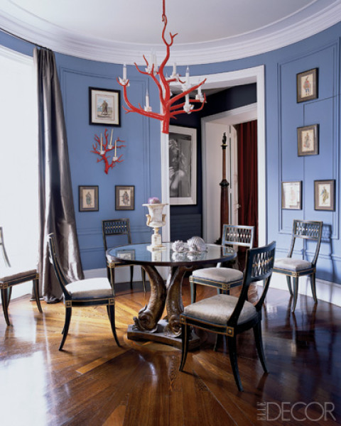 periwinkle blue dining room