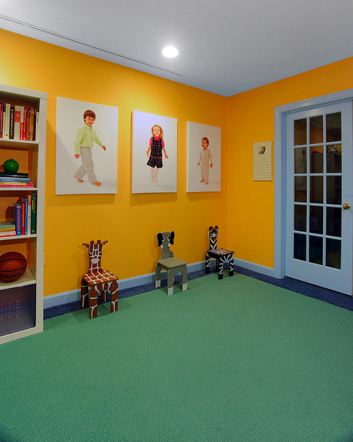 Wall-to-wall carpeting in playroom