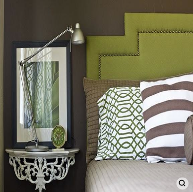 Kiwi green headboard in dry dark brown bedroom