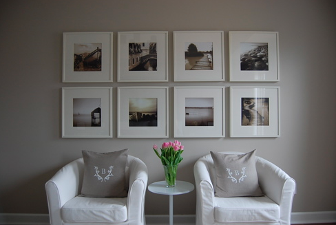 Revere Pewter wall with photographs