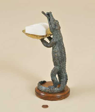 Crocodile smoking a cigar and offering you some soap