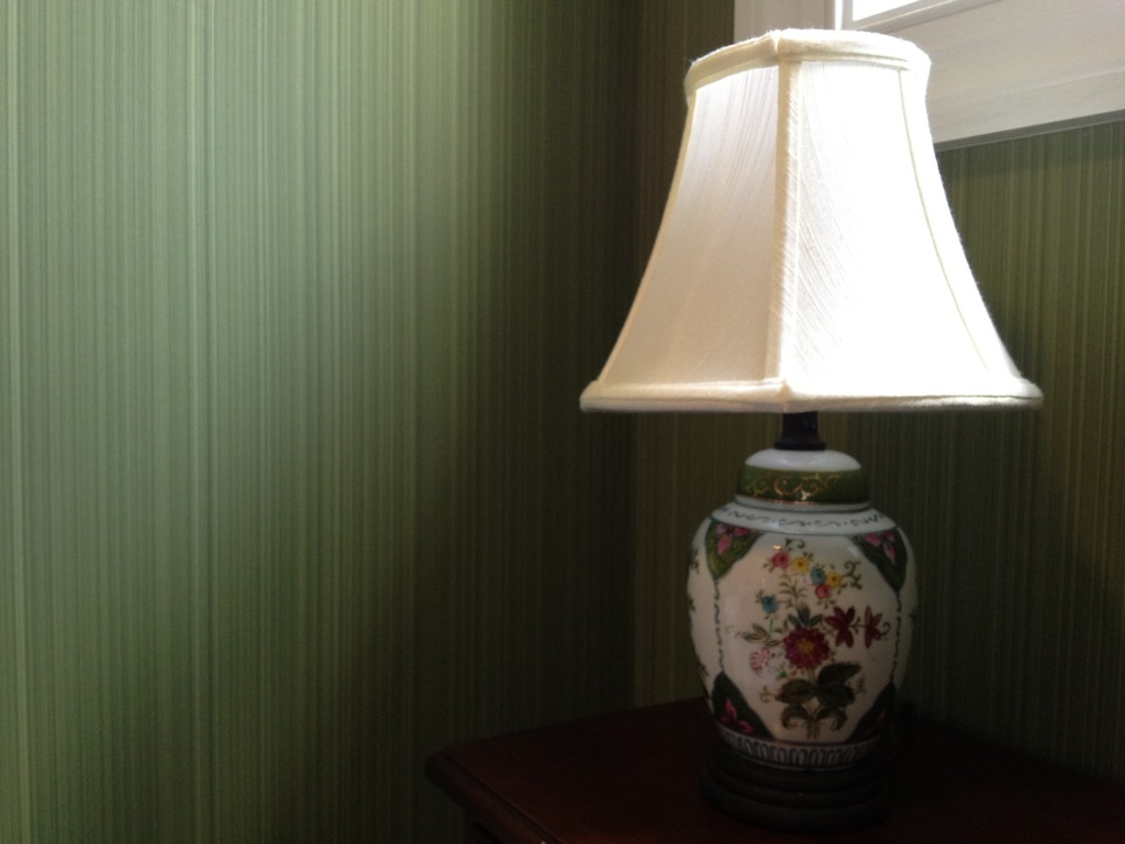 Accent lamp with Farrow & Ball green dragged paper
