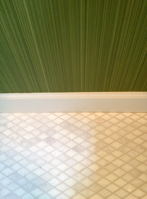 Farrow & Ball green dragged paper with Carrara marble floor