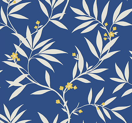 Blue floral wallpaper leaves