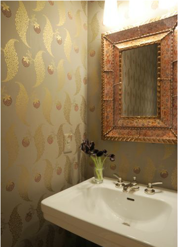 Farrow & Ball wallpaper in powder room
