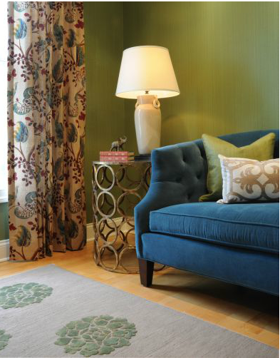 Green Farrow & Ball strie wallpaper in living room