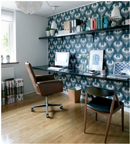 Wallpaper accent wall bossy color annie elliott interior for Wallpaper home office