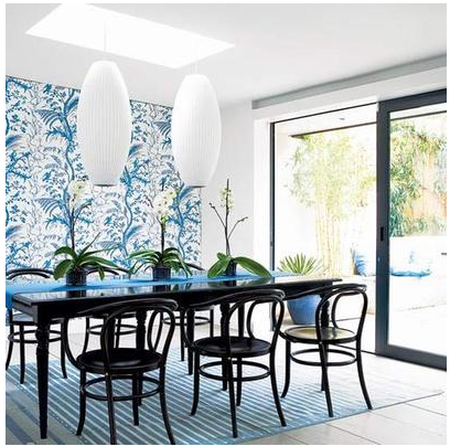 Wallpaper accent wall bossy color annie elliott interior for Wall designs for dining area