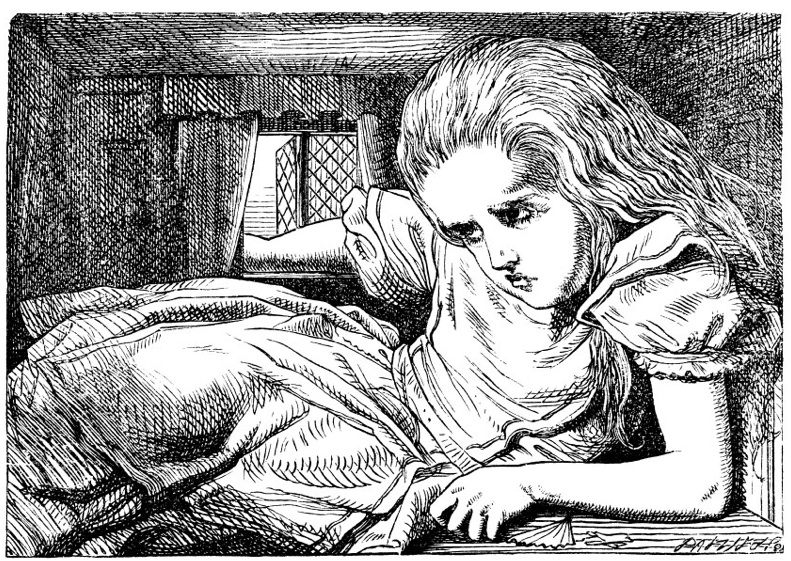 John Tenniel's drawing of Alice in Wonderland growing out of a room