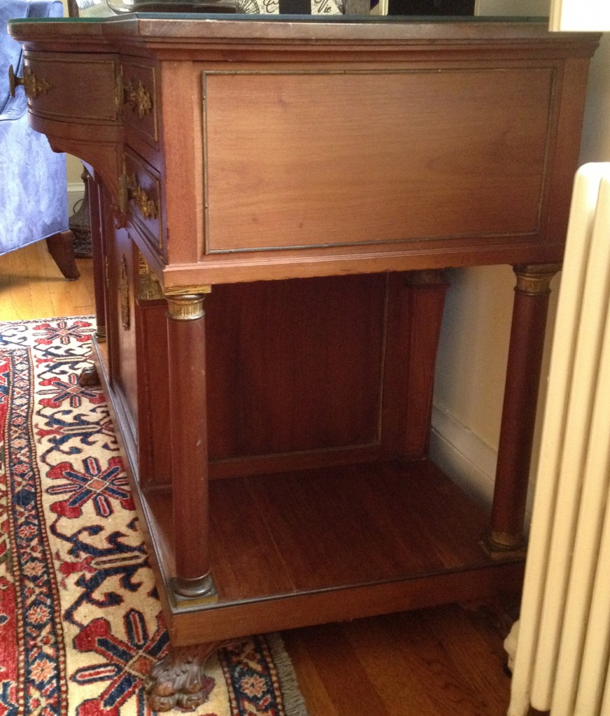 Side view of vintage commode