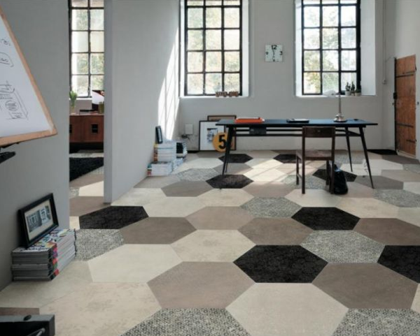 Large-scale hexagonal floor tile, Heritage by Mirage