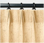 Ring-top drapes with pinch pleats (tailored pleats)