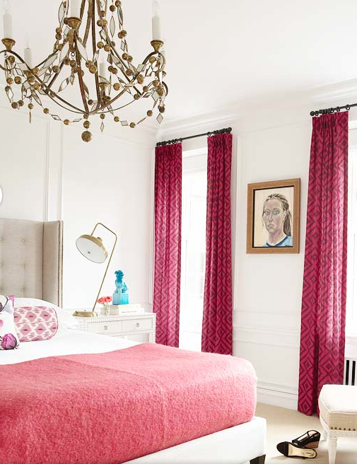 Tall dark pink bedroom drapes