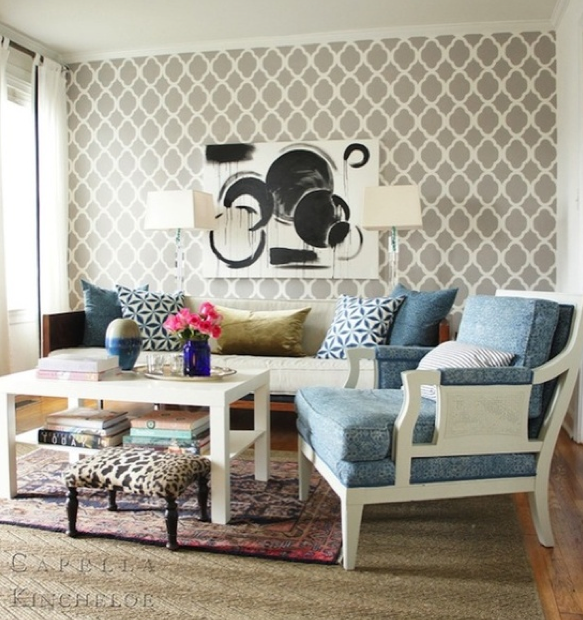 Gray geometric wallpaper accent wall