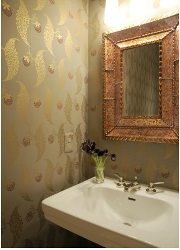 Farrow & Ball Rosslyn wallpaper in powder room