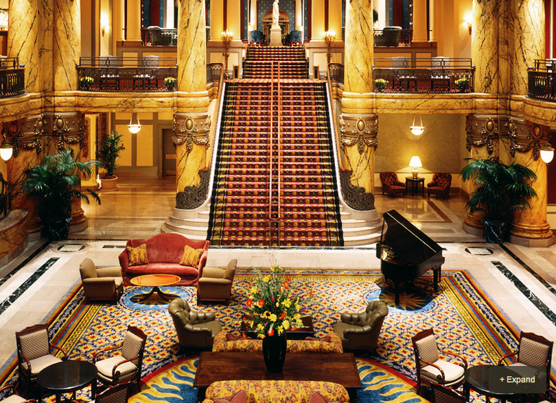 Grand staircase in the lobby of The Jefferson Hotel, Richmond, VA