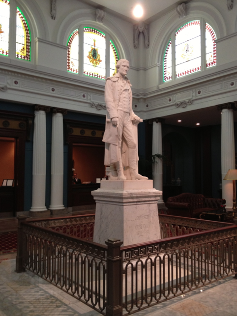Statue of Thomas Jefferson in the lobby of The Jefferson Hotel, Richmond, VA