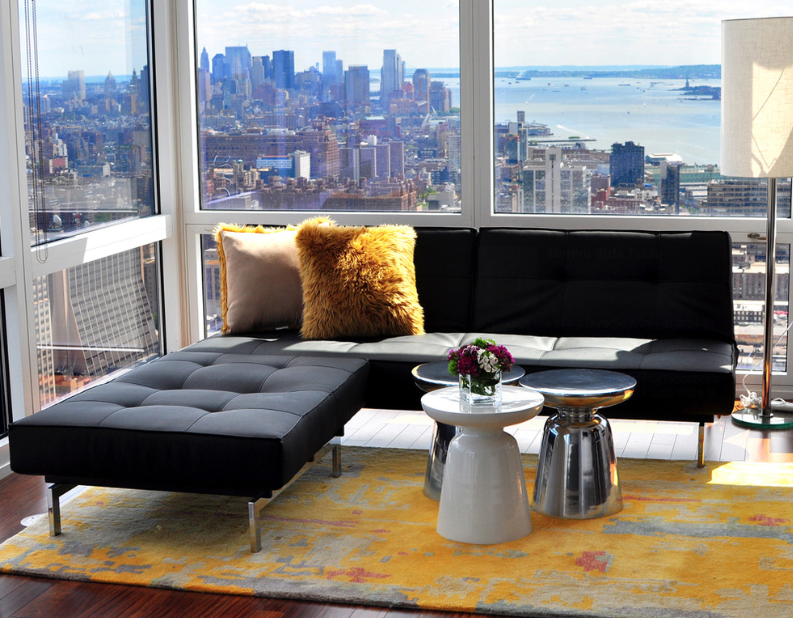 West Elm Martini Table in contemporary penthouse