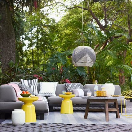 West Elm Martini Table in outdoor seating area