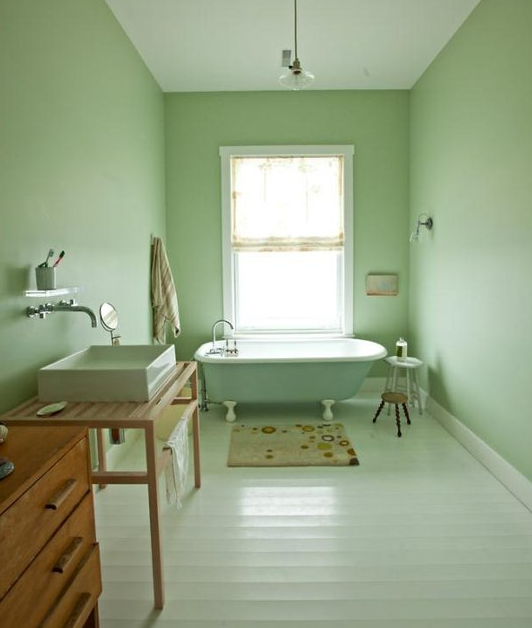 Light mint green bathrooms bossy color annie elliott for Bathroom decor light green