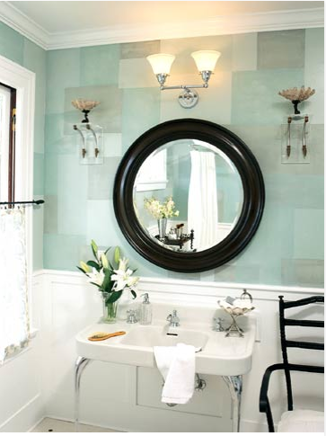 Light mint green bathrooms bossy color annie elliott for Green color bathroom design