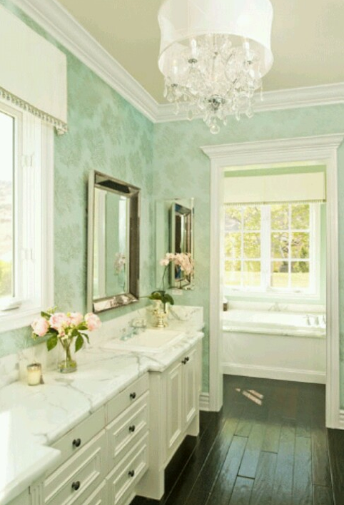 light mint green bathrooms | bossy color annie elliott interior design