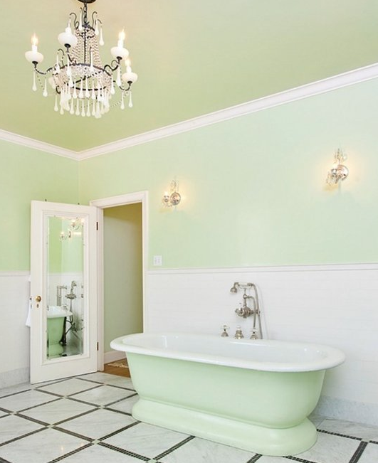 Light Mint Green Bathroom With Chandelier