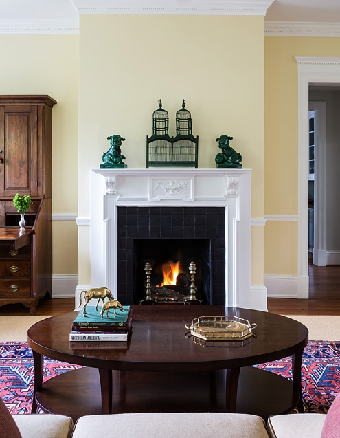 Living Room fireplace, design by bossy color