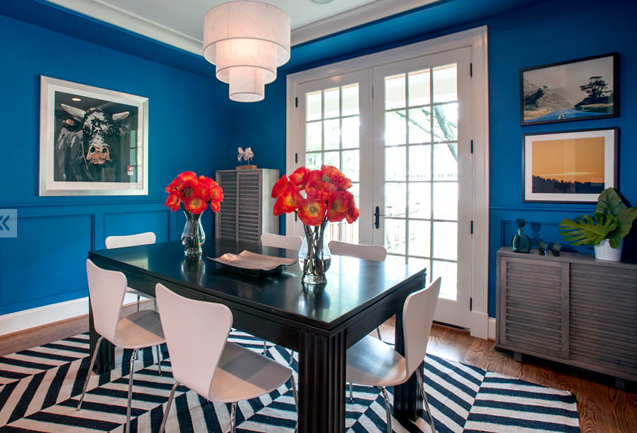 Blue, black and white dining room by bossy color