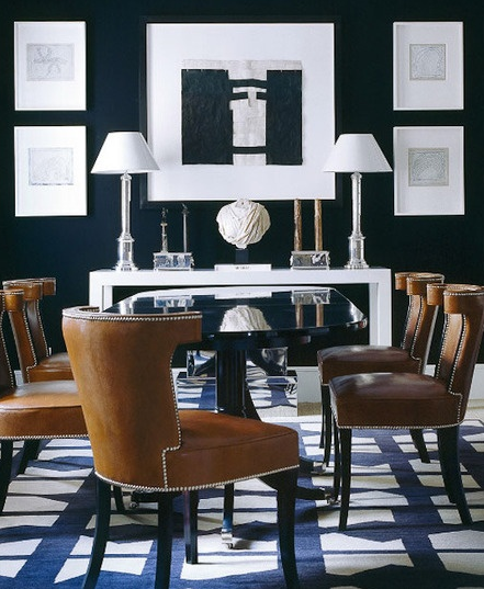 Black and blue and brass 2014 39 s edgy color combo for Navy blue dining room ideas