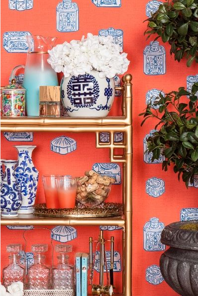 Blue and orange wallpaper Chinoiserie