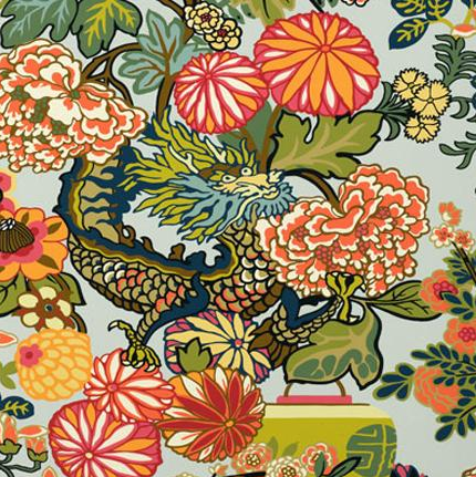 F. Schumacher, Chiang Mai Dragon wallcovering and fabric