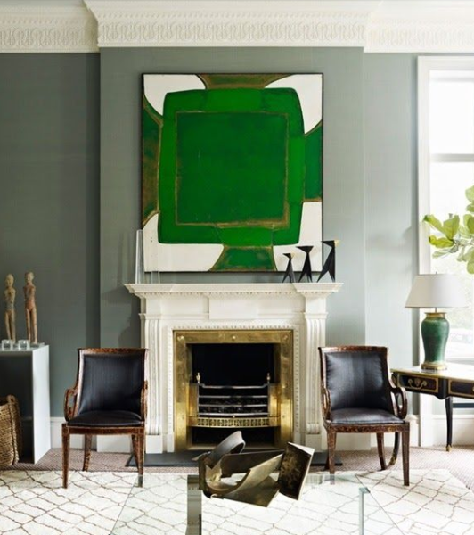 Green contemporary painting in gray living room