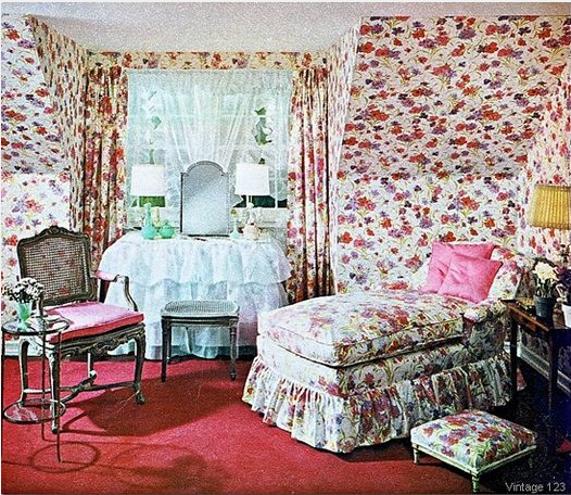 1980s floral chintz matching furniture and walls