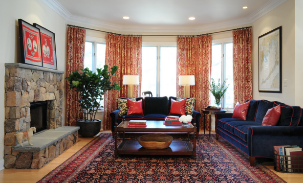 Navy and red traditional living room