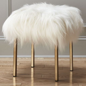 Fur and brass stool
