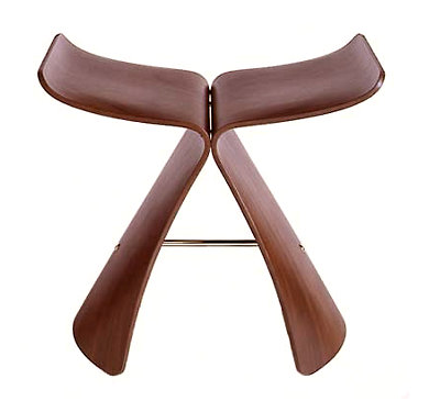 Modern wooden sculptural stool