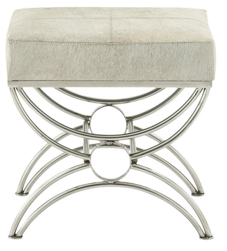 White hide seat on chrome metal base stool