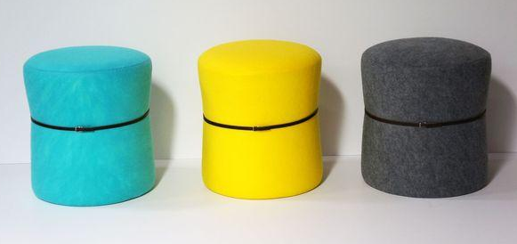 Felt stools with black belt