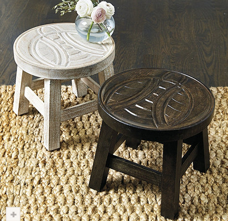 Bee Stand - short wooden stool or table with bee carving decoration