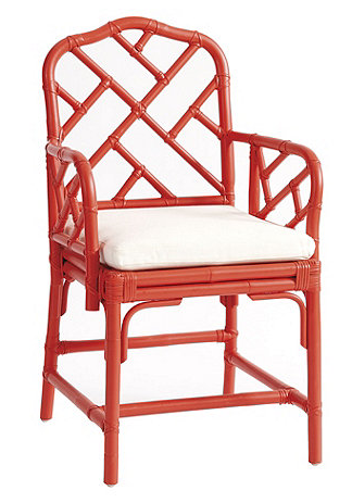 Chinese Chippendale Asian inspired armchair in coral orange pink with seat cushion