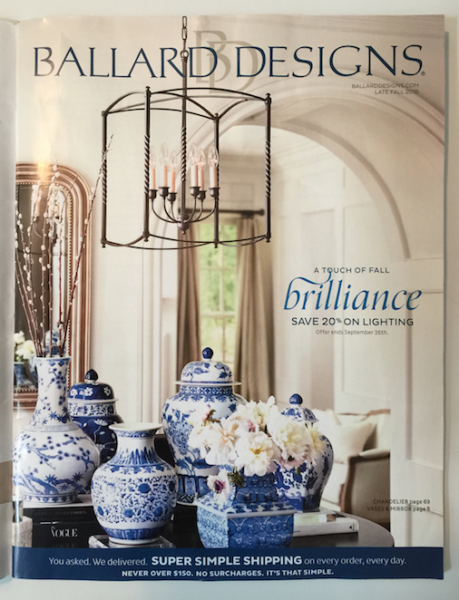 Blue and white magazine catalog cover of Ballard Designs