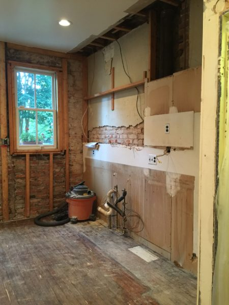 Galley kitchen in Washington, DC during renovation